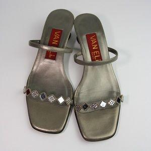 Vaneli Kimbra Pewter Mirror Sandal Heels Women's 7